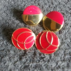 Red & Gold Stud Earring Set Round Costume Jewelry